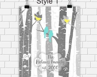 Custom Family Tree Printable Art Personalized Birch Trees Print Birds & Tree Digital Print Choose Size and Color