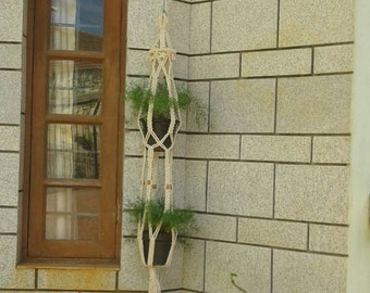 Cotton cord macrame double plant hanger,natural planter,rope plant hanger,6mm,bird feeder,hanging planter