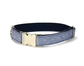 Chambray Diamond Dog Collar, Chambray Dog Collar, Preppy Dog Collar, Denim Dog Collar, Male Dog Collar, Dog Gift