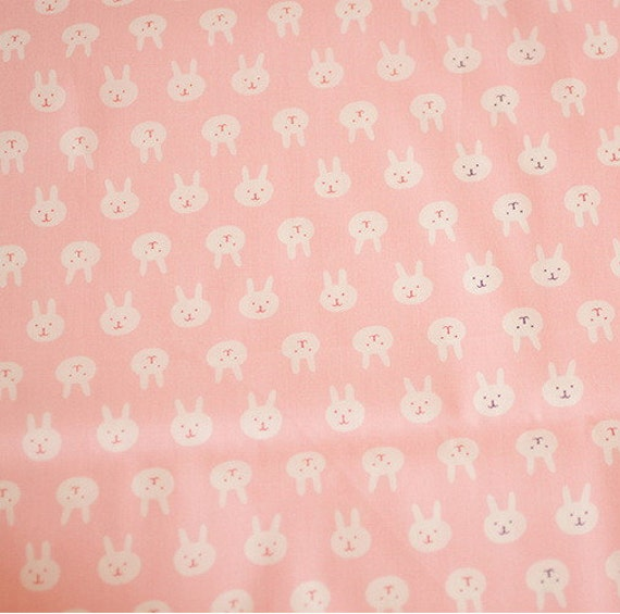 Cute baby cotton fabric pink and white with cute rabbit for Cute childrens fabric