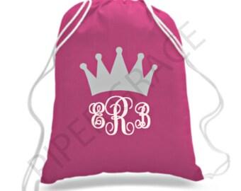 Princess Drawstring Bag, Princess Party Ideas, Princess Party Favors, Princess Backpack, Princess Gift Ideas, Princess Crown, Princess Bag