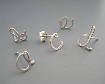 Initial Stud Earrings - personalized cursive letter post, nickel free sterling silver, new mom jewelry