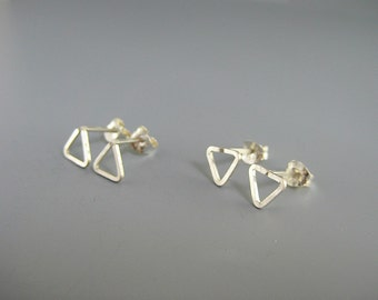 Triangle Stud Earrings - sterling silver post, hypoallergenic tiny geometric studs
