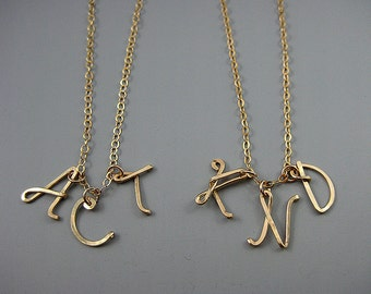 Multiple Initial Necklace - 3 capital letter handmade from gold filled wire, wife birthday gift