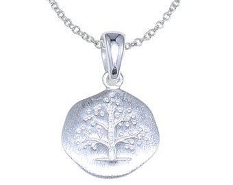 925 Sterling Silver Round Evergreen Tree Pendant Necklace 16 inches or 18 inches