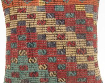 "Anatolian Turkish pillow covers  wool handmade C1716 kilim rug 20""x20"""