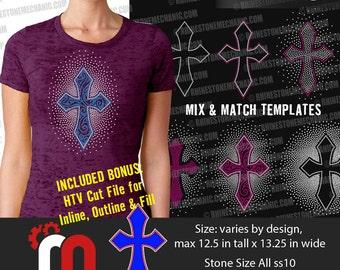 Multiple Cross Rhinestone Template Digitial Download