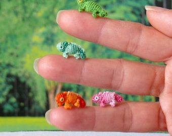 Mini Chameleon - choice of color - hand made crochet amigurumi figurine.