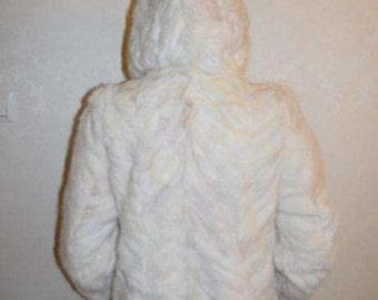 Real mink white coat jacket size M