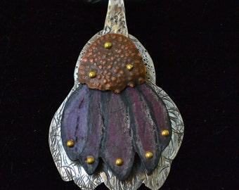 Cone Flower Necklace, Pendant - Purple Cone Flower