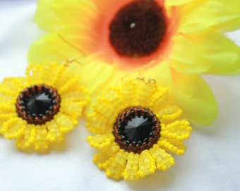 Floral Earrings Yellow Sunflower Earrings Red Poppy Earrings Summer Jewelry Colorful Earrings White chamomile Earrings Bluet Earrings gift