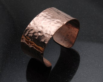 Large Hammered Copper Bracelet, Cuff