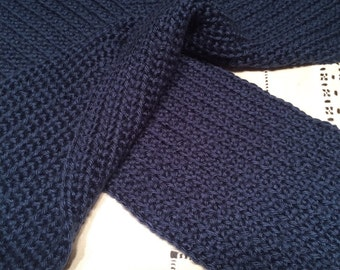 Scarf, Dark Blue, Hand-Crocheted Single Crochet Scarf