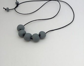 Grey porcelain beaded necklace