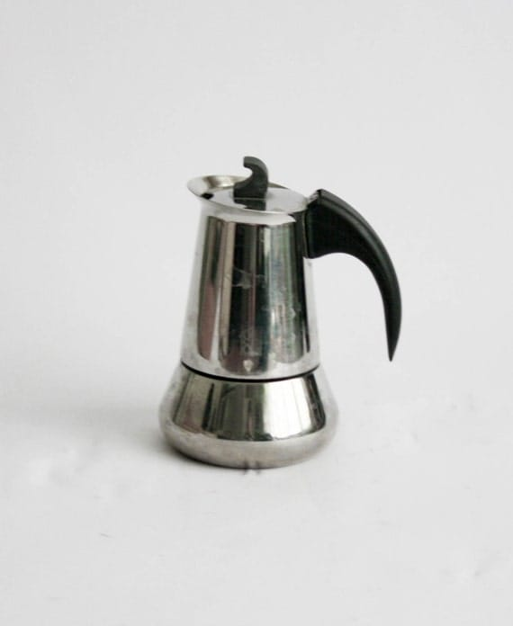 Antique Italian Coffee Maker : Vintage Italian Coffee Maker Stainelss Steel 2 Cups Made