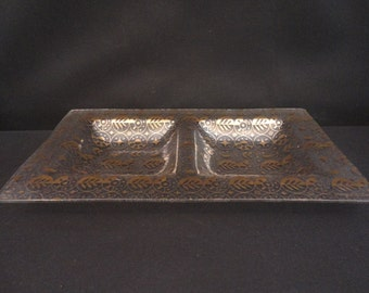 Vintage signed Georges Briard Forbidden Fruits 2 Compartment Glass Serving Tray