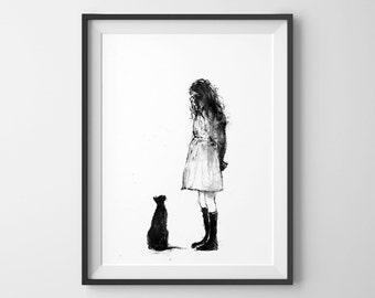 Original Ink Drawing, Original Painting, Black and White Art, Girl and Cat, Room Decor, Cat Lover, Art Gift, Cat Art, Sad Little Girl, Ink