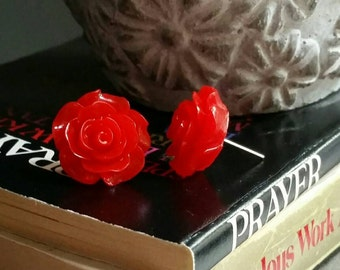 Beautiful Red Rose Stud Earrings, 18mm Resin Roses on silver plated posts