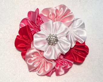 Valentine's Day Flower Cluster Hair Bow - Large 4 inch Satin Flower Cluster Hair Bow on French Barrette Clip with Star Rhinestone Center