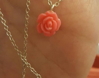 Rose charm necklace (color options)