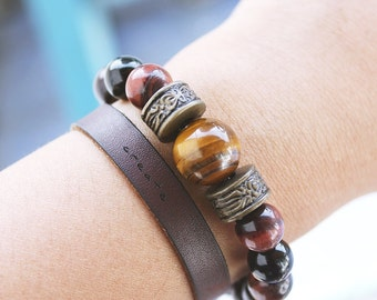 Red Tiger's Eye And Yellow Tiger's eye combo Deluxe beaded gemstone bracelet