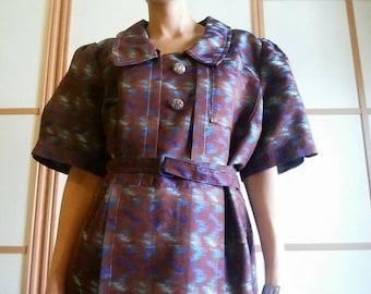 70's DRESS// Handmade// L Size