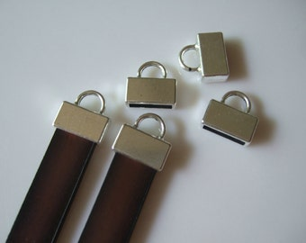 10 Pieces Antique Silver Flat Leather End Caps , 10mm Flat Leather clasp , 10x2mm Flat Leather Findings SP343