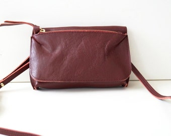 "Leather Handbag / Purse ""Festival"" in wine red, genuine leather. Purse, clutch and handbag in one."