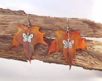 Maple leaf earrings symbol of Canada earrings autumn yellow maple leaf realistic fall maple leaf earrings polymer clay fashion gift for her