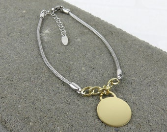Personalised Disc Charm Bracelet - Free Engraving - Yellow Gold or Silver