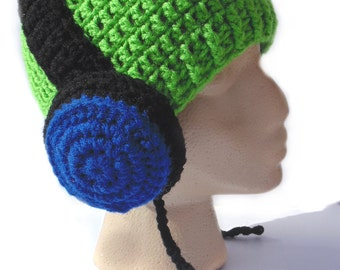 Headphone Hat - Blue and Green