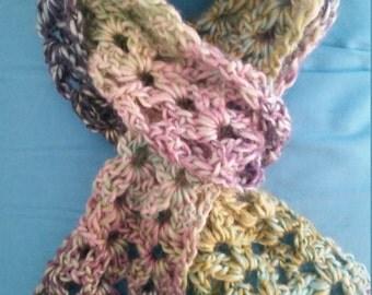 Crochet multicolor scarf