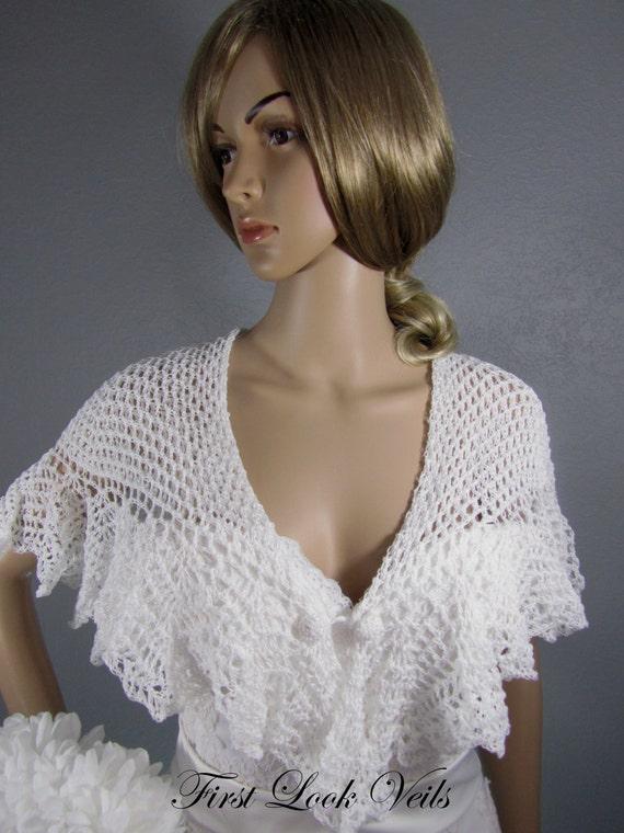 White Wedding Shawl, Bridal Shrug, Crocheted Button Closing, Crocheted Shawl, Mother Of The Bride Shrug, Bridal Accessory, Women, Gift