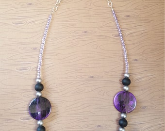 Black and Purple Beaded Necklace, Women's Jewelry