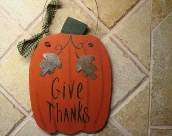 Give Thanks Hanger, Thanksgiving Decor, Pumpkin Give Thanks, Pumpkin Hanger
