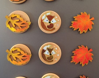 Shades of Autumn magnets, set of 3. Wooden. Hand painted. Free UK delivery