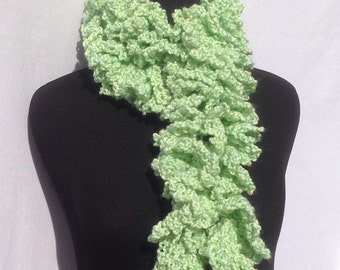 Curly Boa Scarf in Pastel Green