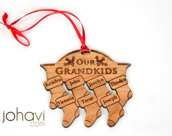 Custom Personalized Family Christmas Ornament. Stockings on a fireplace with your names