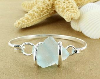 Light Aqua Sea Glass Bracelet