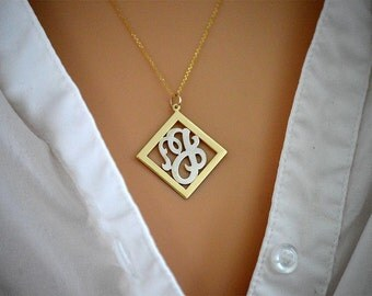 Gold diamond shape monogram, Chrisstnas gifts,Sterling silver monogram, initial monogram gold, Personalized single initial monogram pendant.
