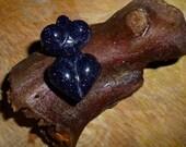 Blue Sandstone Chunky Goddess bead Pendant Blesssing way gift Glittery woman