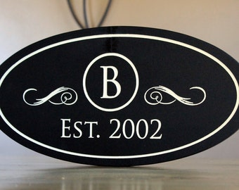 Monogram Family Name Sign carved/engraved