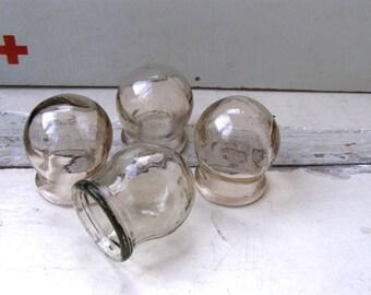 Set of 4 vintage soviet medical glass cupping Massage Vintage Jars  Made in USSR
