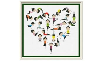 I love yoga Cross Stitch Pattern, Funny cross stitch, sport, counted cross stitch pattern