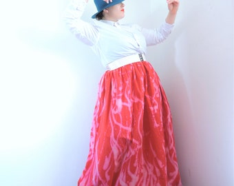 Red maxi skirt COLLECTION OBELS with printed handmade