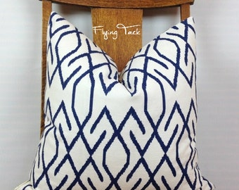 Navy Ikat Geometric Pillow Cover on White Background.  Knife Edge finish - Zoe Pattern - Same Fabric Both Sides