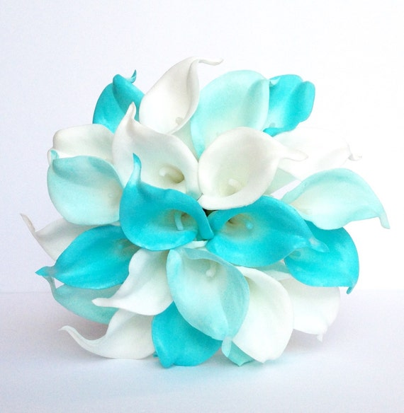 turquoise wedding bouquet calla lily wedding by adoredoccasions. Black Bedroom Furniture Sets. Home Design Ideas