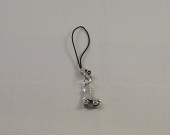 Roller skate mobile phone charm on black cord