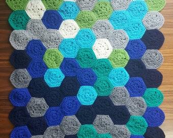Shades of Blue - crochet hexagon baby blanket