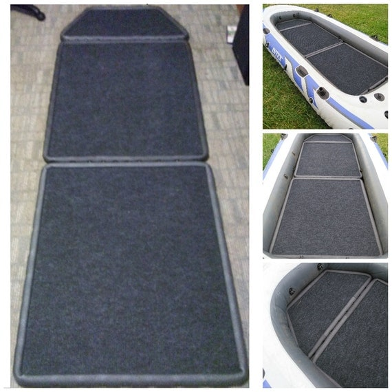 New 3 piece carpeted marine wood floor for intex by floortex for Seahawk 4 floor dimensions